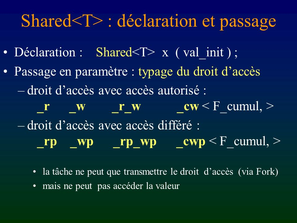 Shared<T> : déclaration et passage