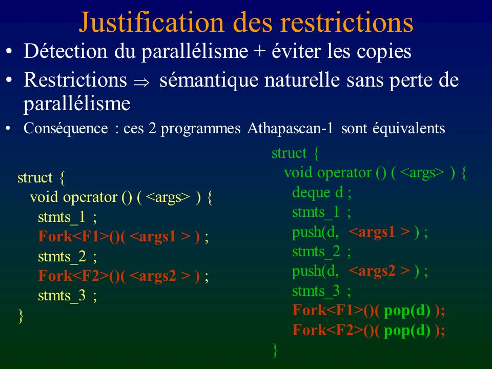 Justification des restrictions