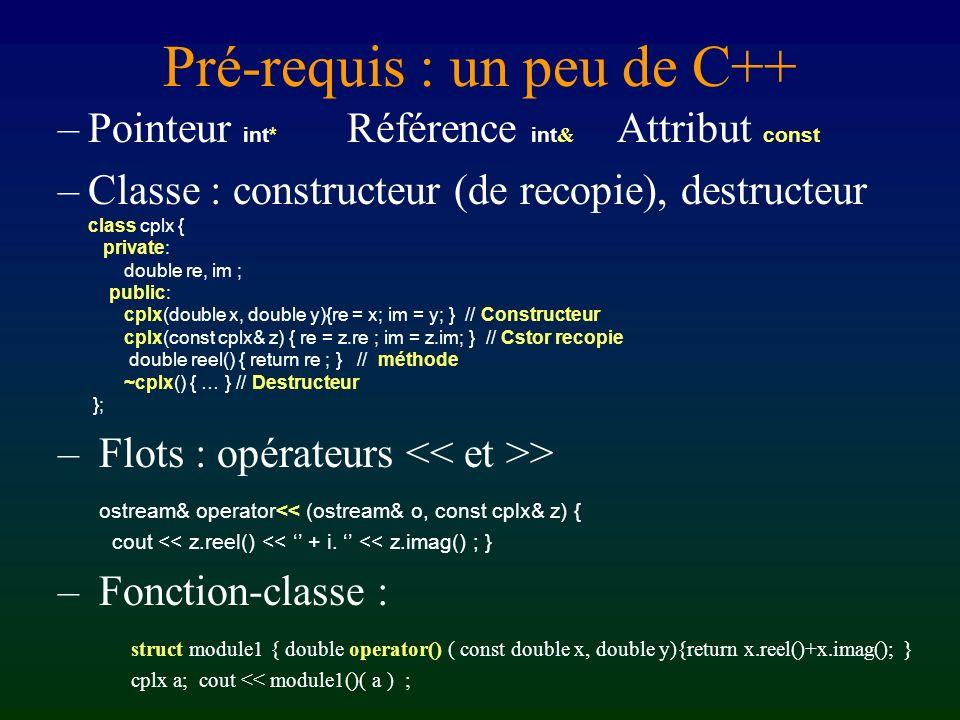Pré-requis : un peu de C++