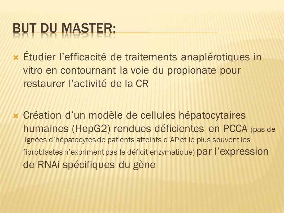 But du master: Étudier l'efficacité de traitements anaplérotiques in vitro en contournant la voie du propionate pour restaurer l'activité de la CR.