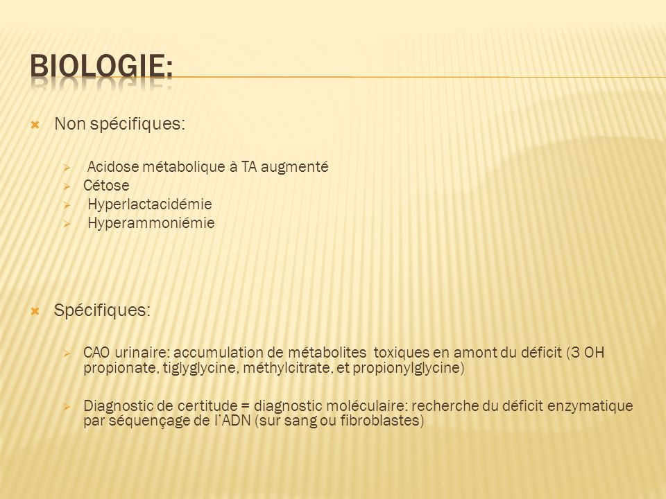 Biologie: Non spécifiques: Spécifiques: