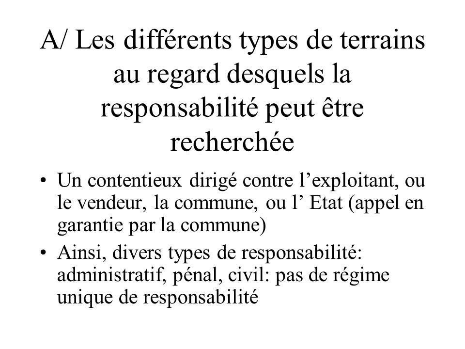 A/ Les différents types de terrains au regard desquels la responsabilité peut être recherchée