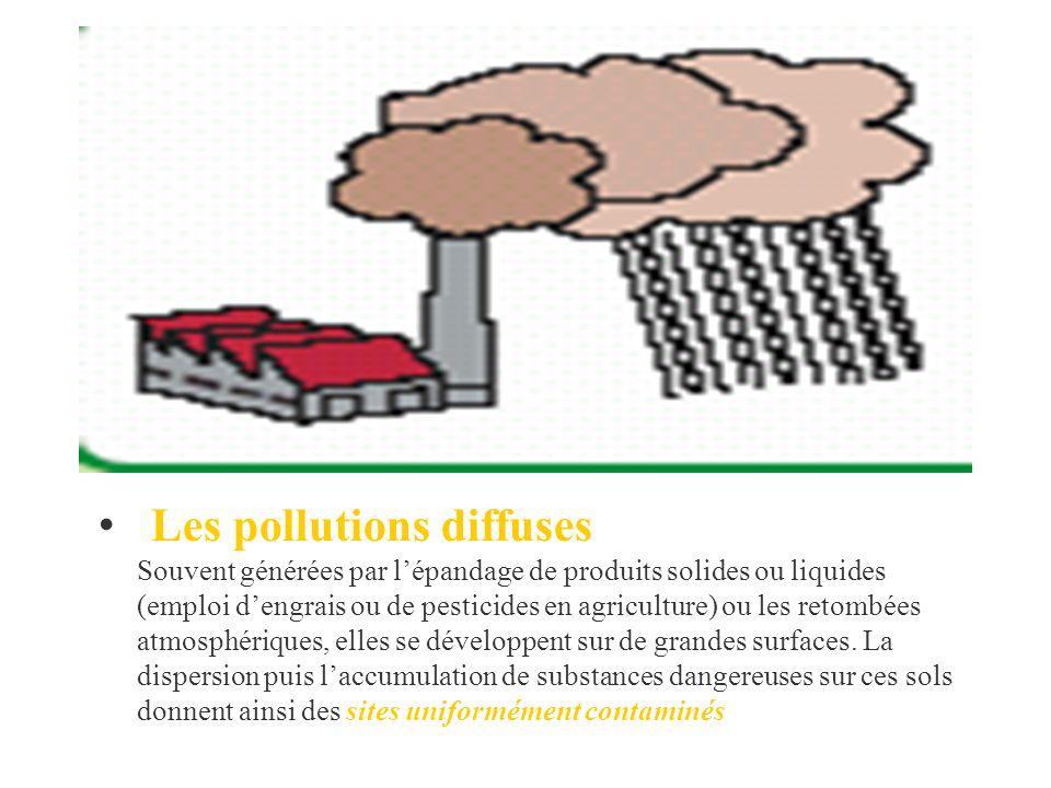 Les pollutions diffuses Souvent générées par l'épandage de produits solides ou liquides (emploi d'engrais ou de pesticides en agriculture) ou les retombées atmosphériques, elles se développent sur de grandes surfaces.