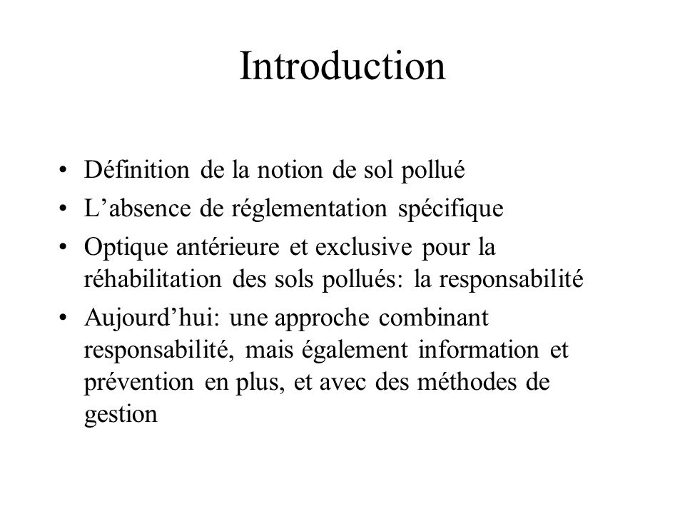 Introduction Définition de la notion de sol pollué