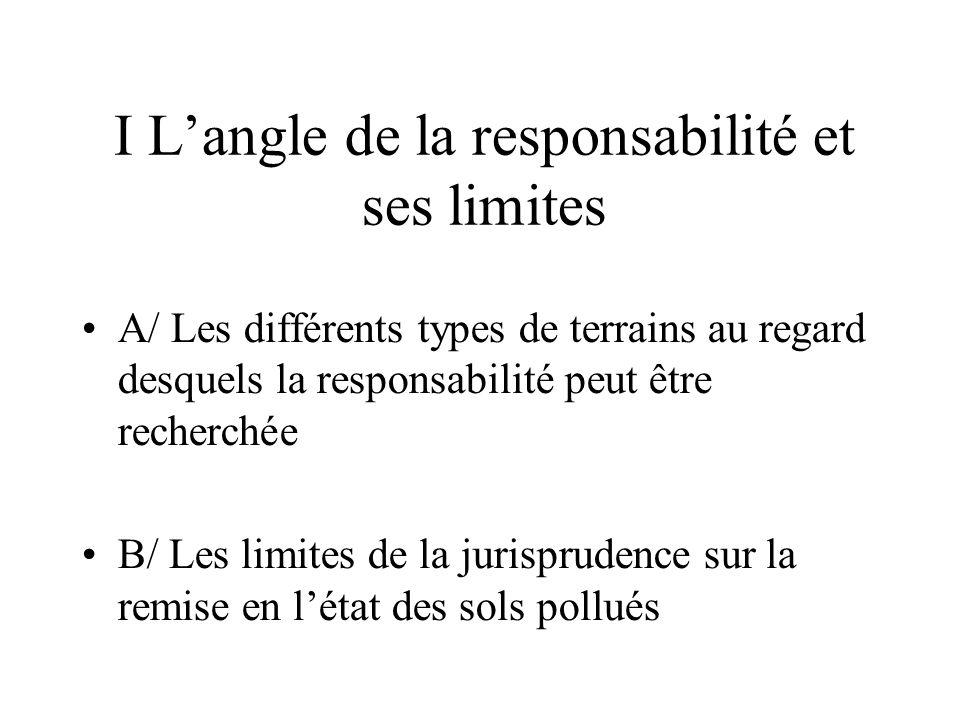 I L'angle de la responsabilité et ses limites