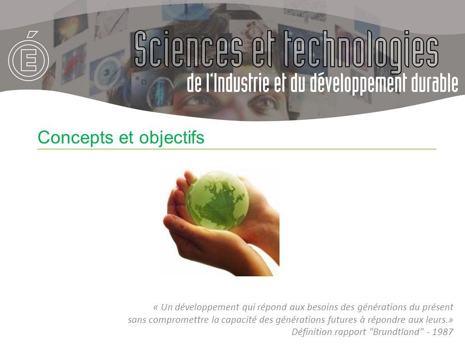 Concepts et objectifs « Un développement qui répond aux besoins des générations du présent.