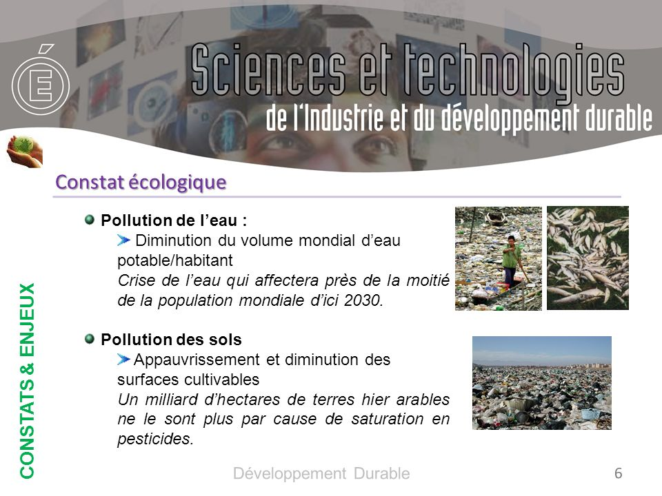 Constat écologique CONSTATS & ENJEUX Pollution de l'eau :