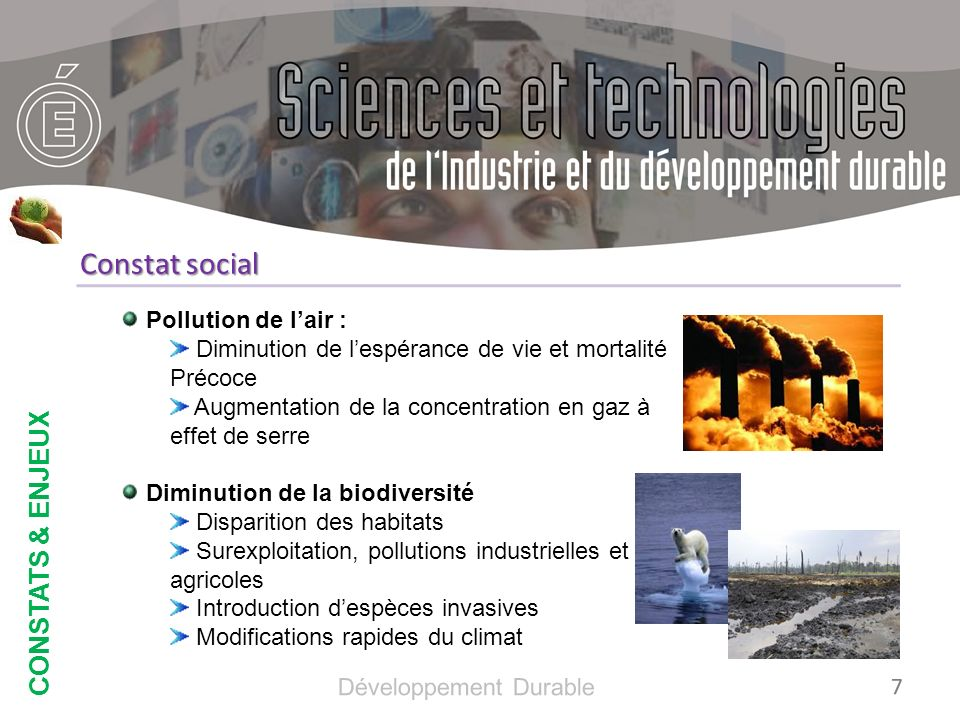 Constat social CONSTATS & ENJEUX Pollution de l'air :