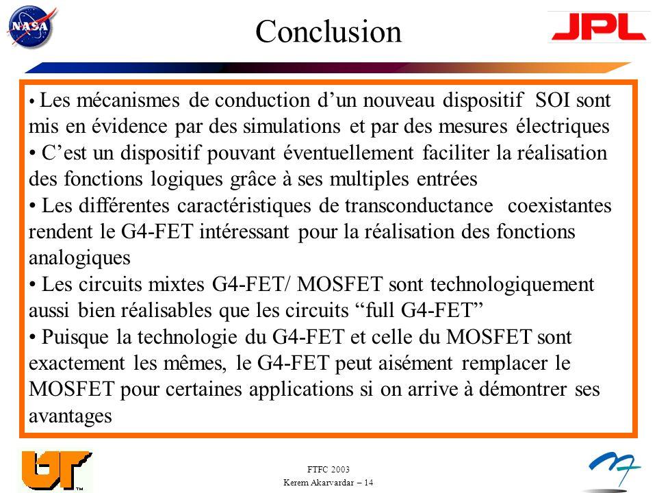 Conclusion Les mécanismes de conduction d'un nouveau dispositif SOI sont mis en évidence par des simulations et par des mesures électriques.