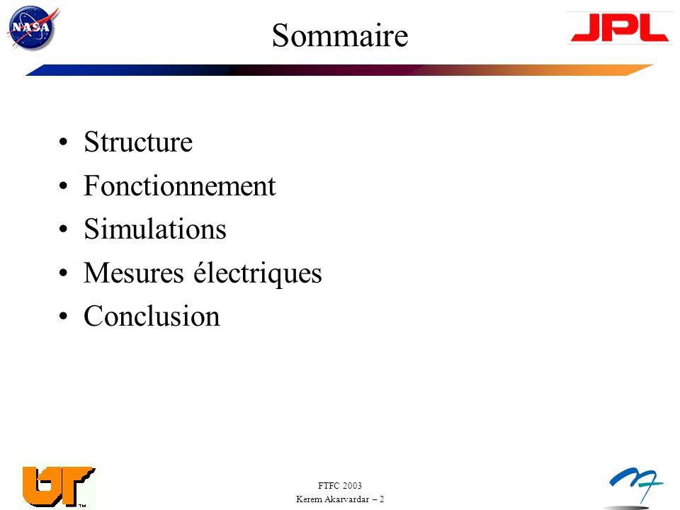 Sommaire Structure Fonctionnement Simulations Mesures électriques