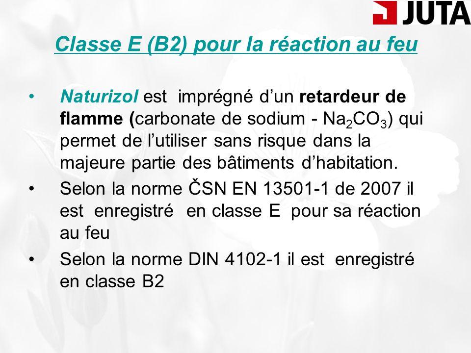 Classe E (B2) pour la réaction au feu