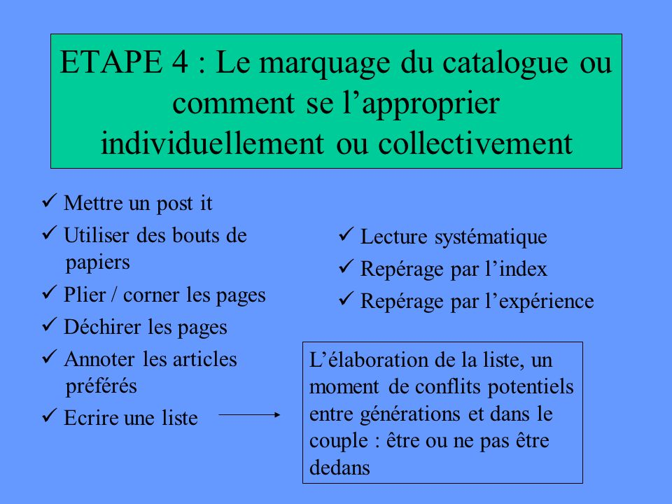 ETAPE 4 : Le marquage du catalogue ou comment se l'approprier individuellement ou collectivement
