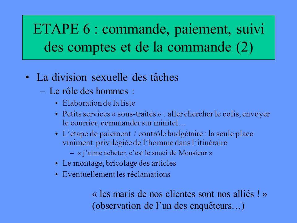 ETAPE 6 : commande, paiement, suivi des comptes et de la commande (2)