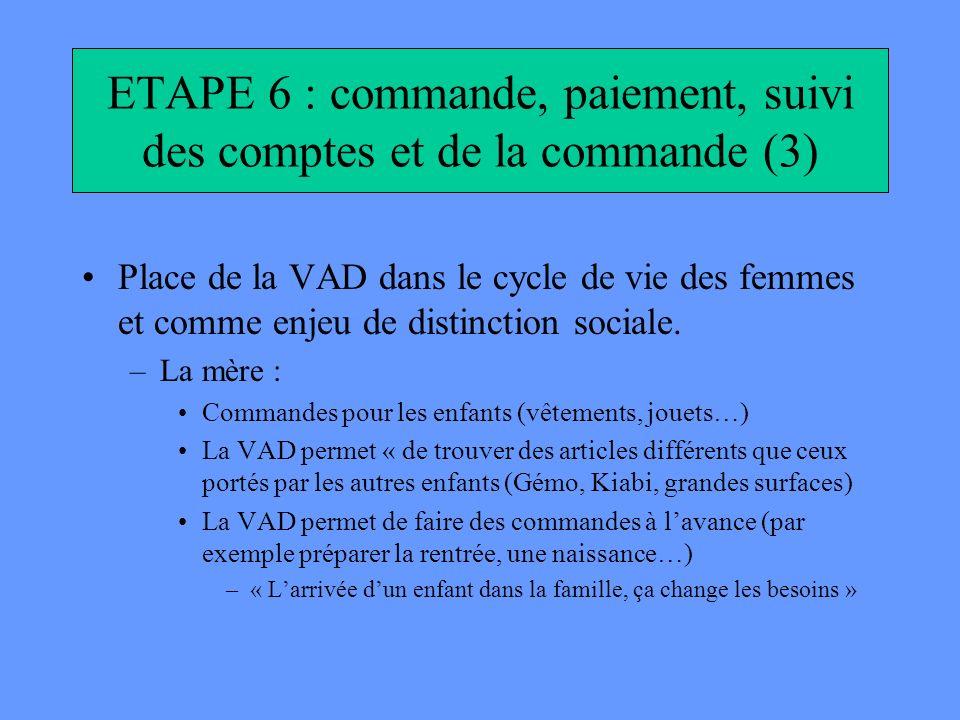 ETAPE 6 : commande, paiement, suivi des comptes et de la commande (3)
