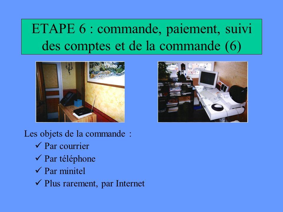 ETAPE 6 : commande, paiement, suivi des comptes et de la commande (6)