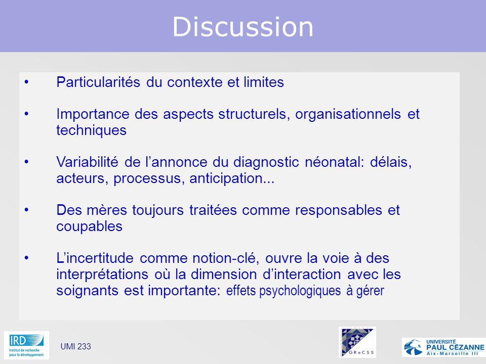 Discussion Particularités du contexte et limites