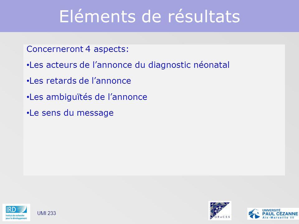 Eléments de résultats Concerneront 4 aspects: