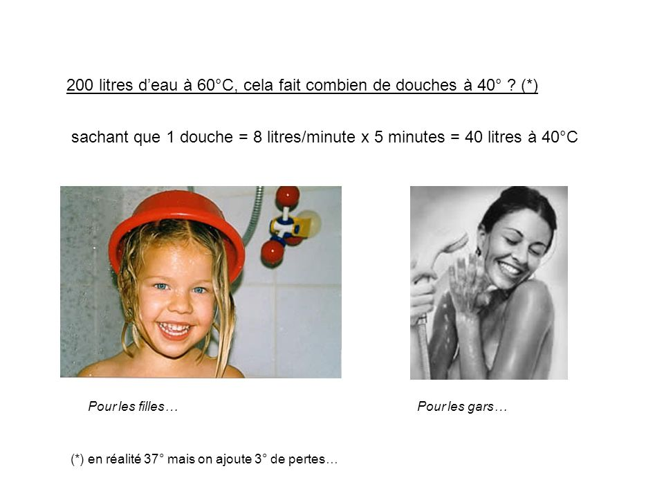 200 litres d'eau à 60°C, cela fait combien de douches à 40° (*)