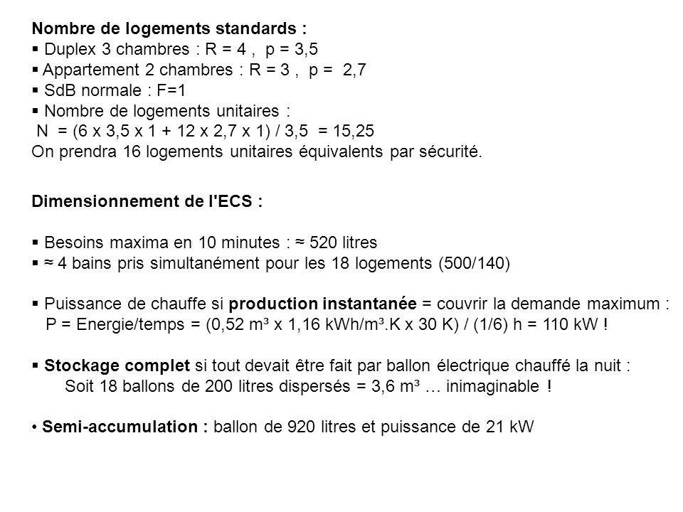 Nombre de logements standards :