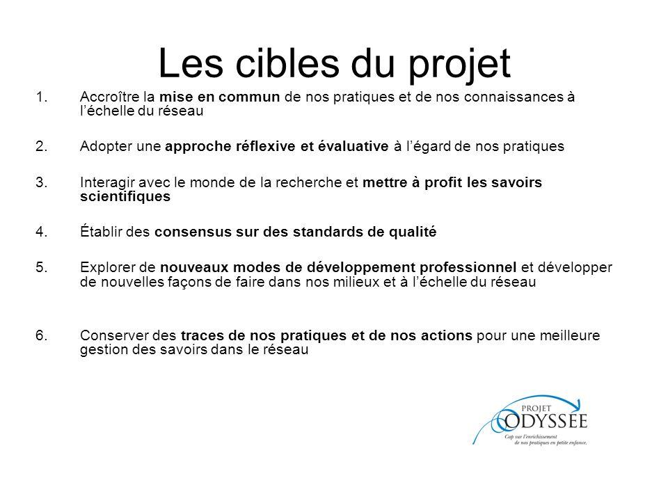 Les cibles du projet Accroître la mise en commun de nos pratiques et de nos connaissances à l'échelle du réseau.