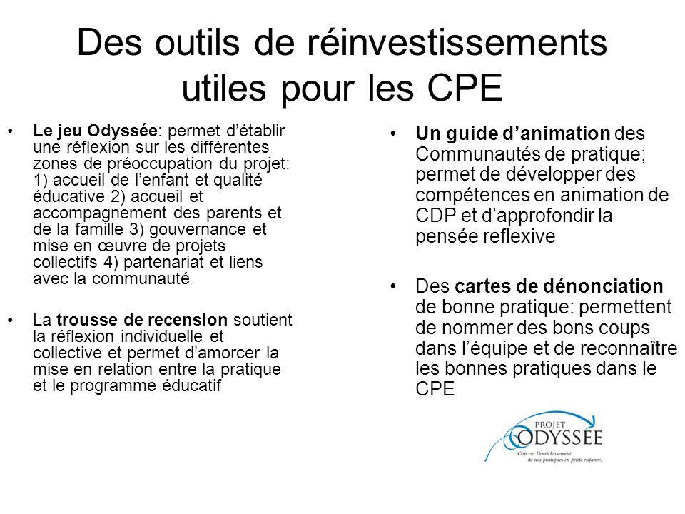 Des outils de réinvestissements utiles pour les CPE