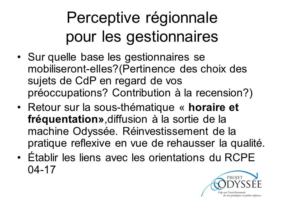 Perceptive régionnale pour les gestionnaires