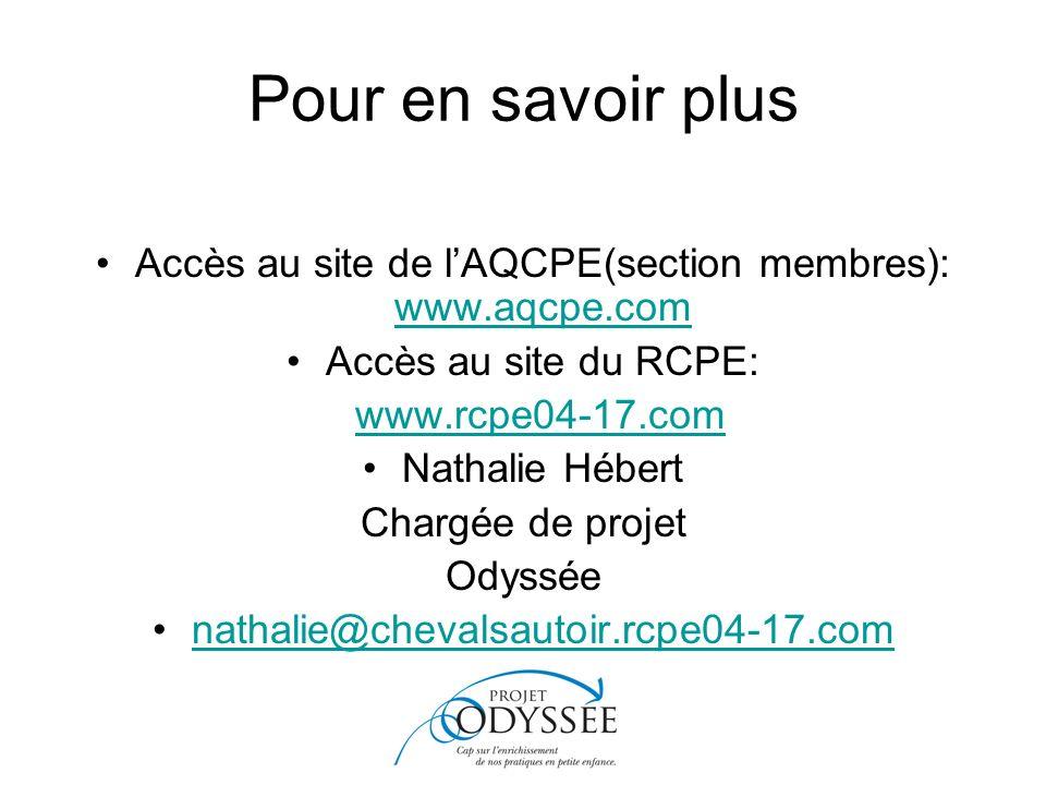 Accès au site de l'AQCPE(section membres): www.aqcpe.com
