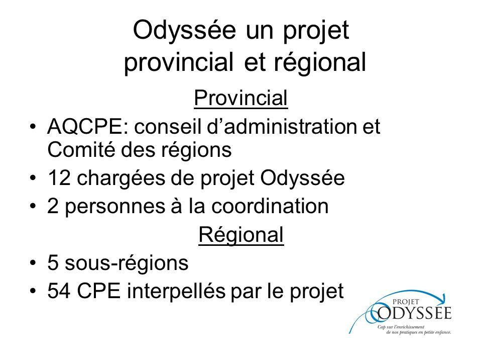Odyssée un projet provincial et régional