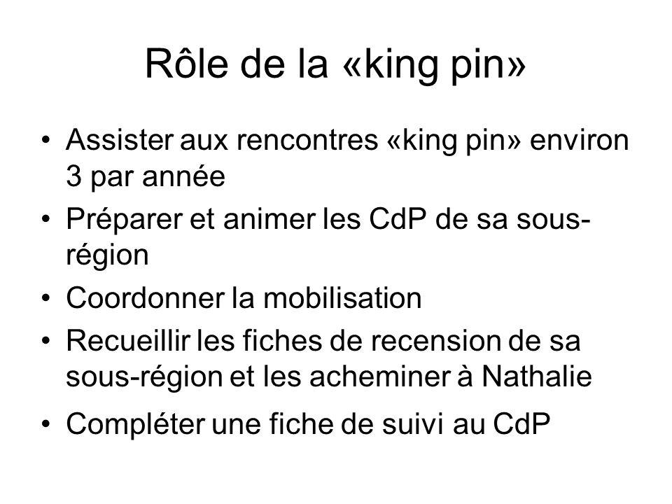 Rôle de la «king pin» Assister aux rencontres «king pin» environ 3 par année. Préparer et animer les CdP de sa sous-région.