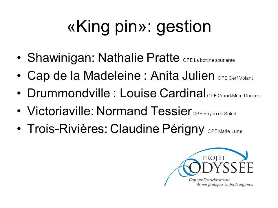 «King pin»: gestion Shawinigan: Nathalie Pratte CPE La bottine souriante. Cap de la Madeleine : Anita Julien CPE Cerf-Volant.