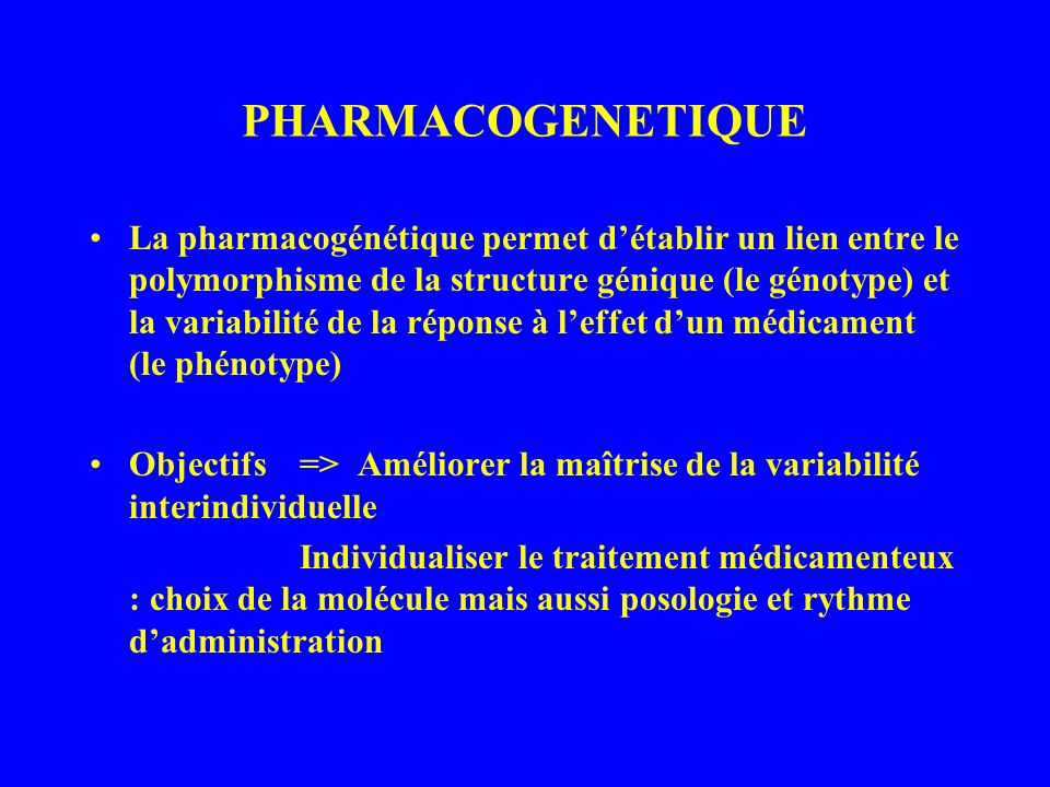 PHARMACOGENETIQUE