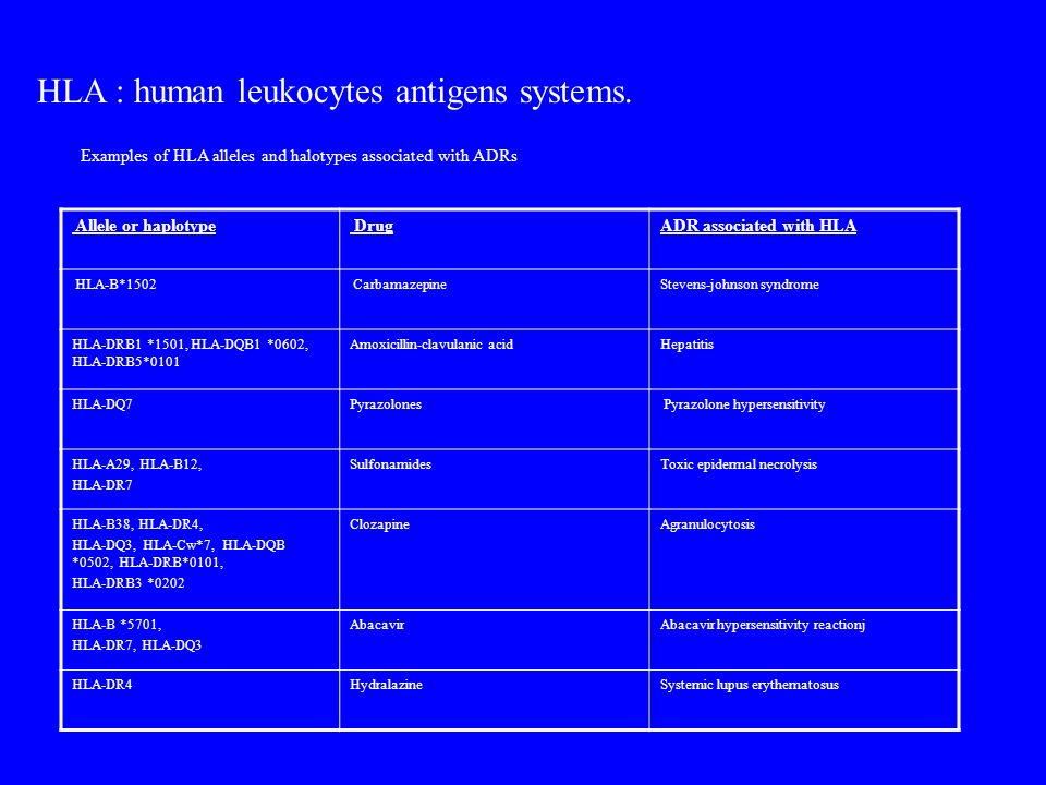 HLA : human leukocytes antigens systems.