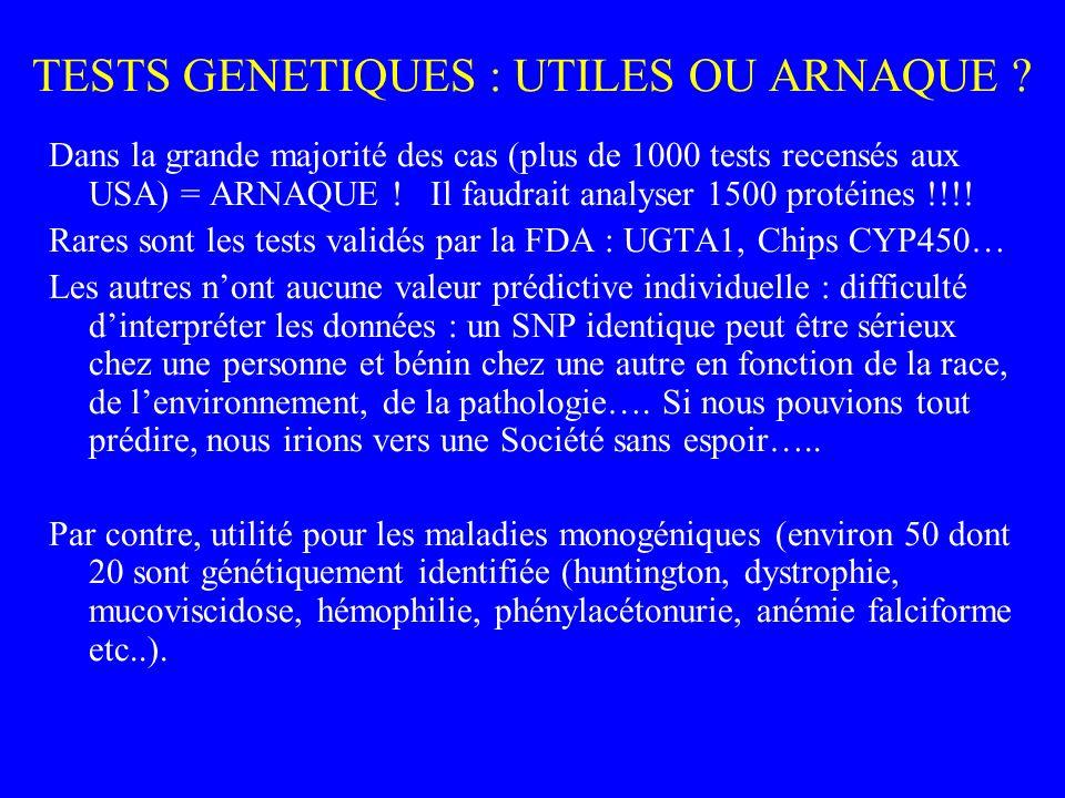 TESTS GENETIQUES : UTILES OU ARNAQUE