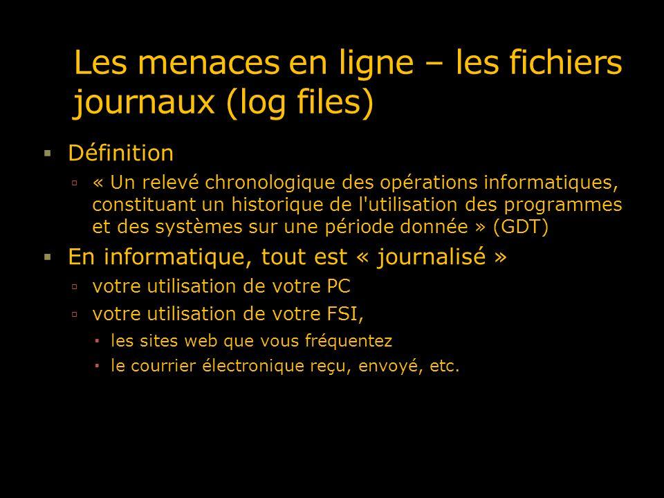 Les menaces en ligne – les fichiers journaux (log files)