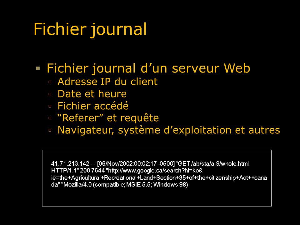 Fichier journal Fichier journal d'un serveur Web Adresse IP du client