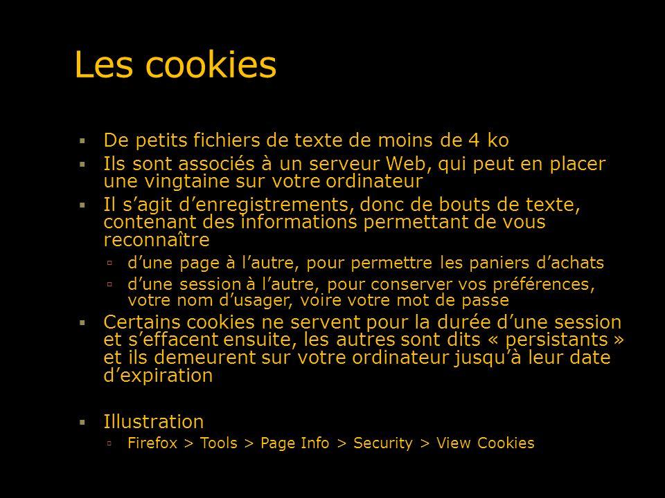Les cookies De petits fichiers de texte de moins de 4 ko