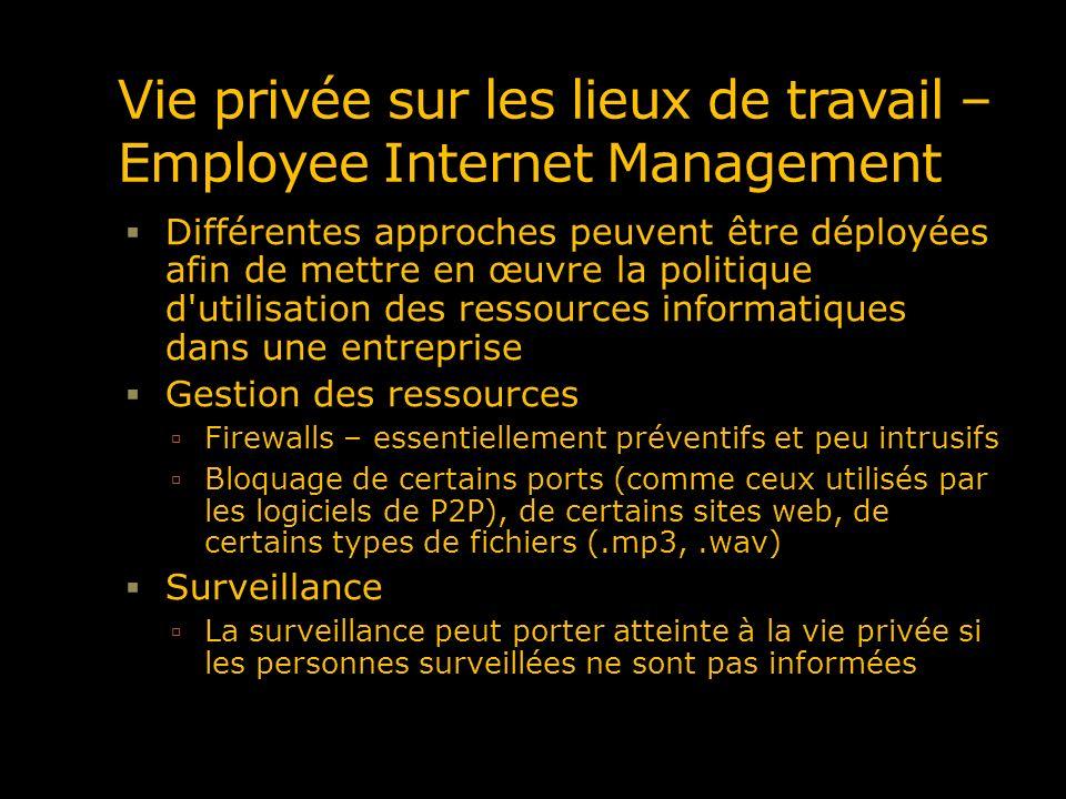 Vie privée sur les lieux de travail – Employee Internet Management