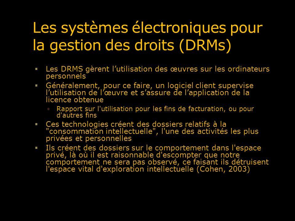 Les systèmes électroniques pour la gestion des droits (DRMs)