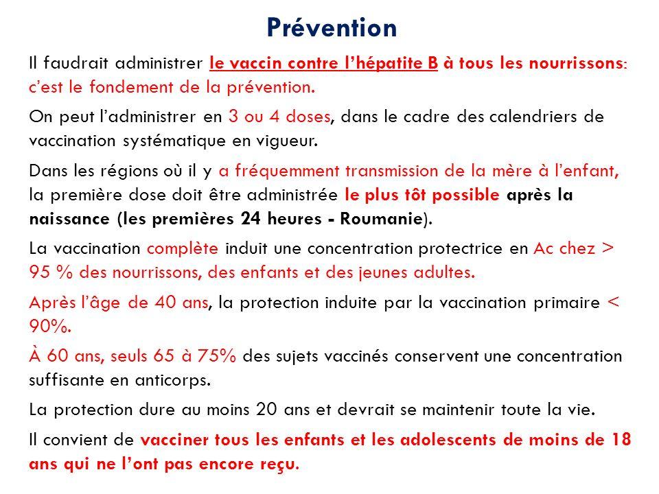 Prévention Il faudrait administrer le vaccin contre l'hépatite B à tous les nourrissons: c'est le fondement de la prévention.