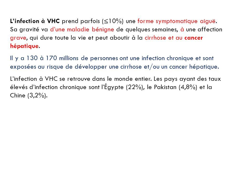 L'infection à VHC prend parfois (≤10%) une forme symptomatique aiguë