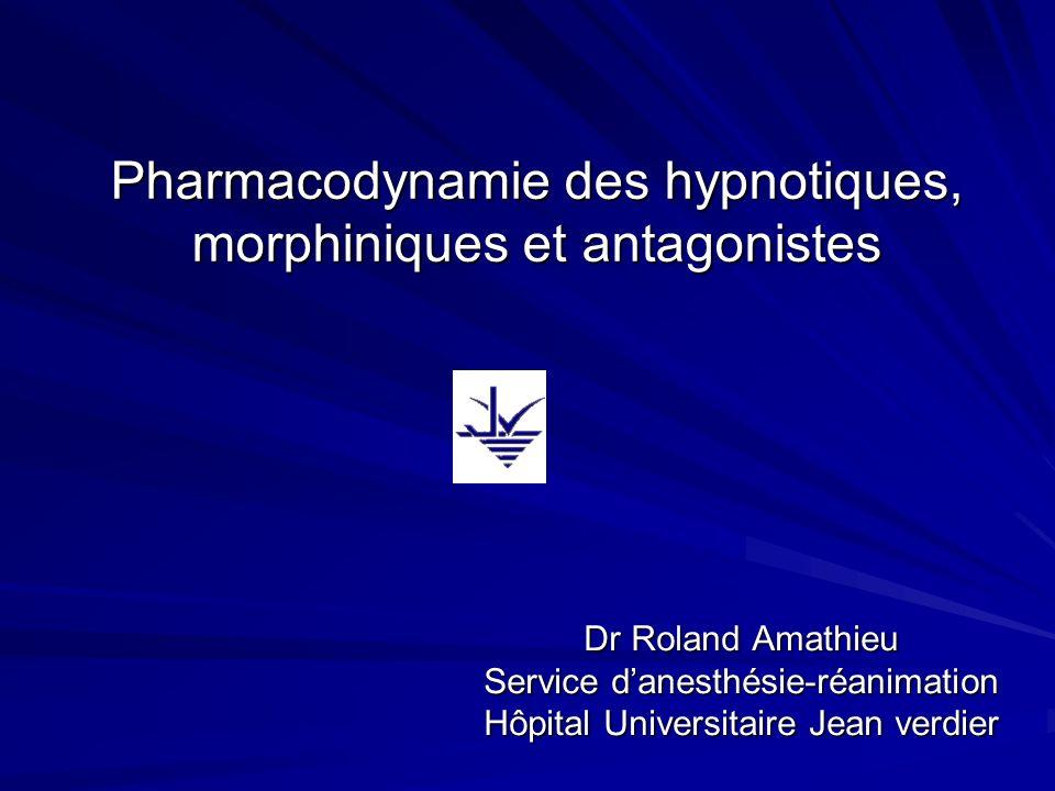 Pharmacodynamie des hypnotiques, morphiniques et antagonistes