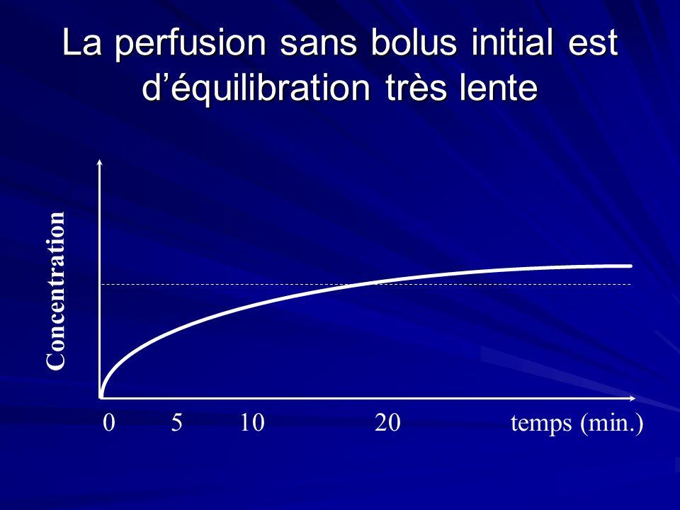 La perfusion sans bolus initial est d'équilibration très lente