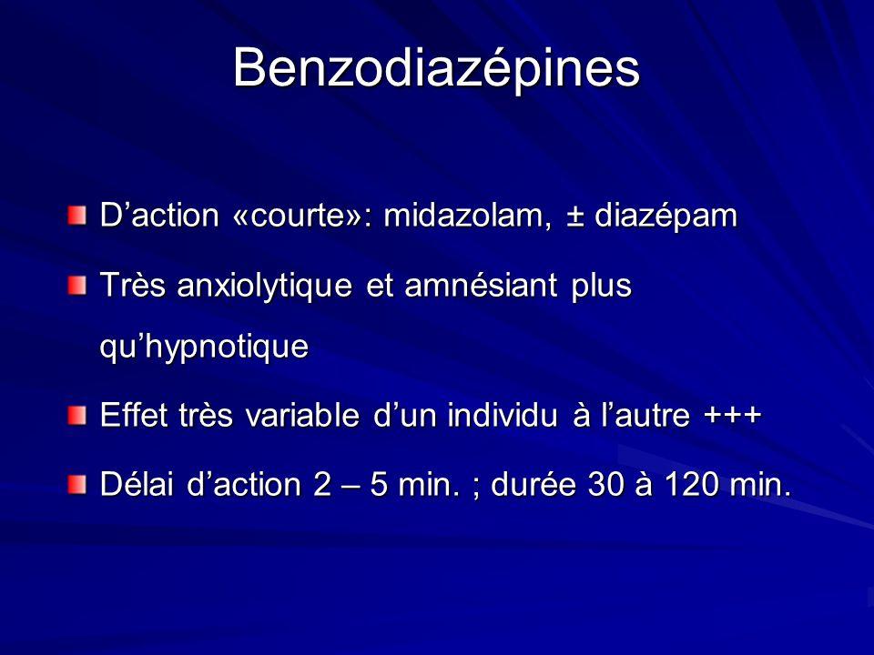 Benzodiazépines D'action «courte»: midazolam, ± diazépam