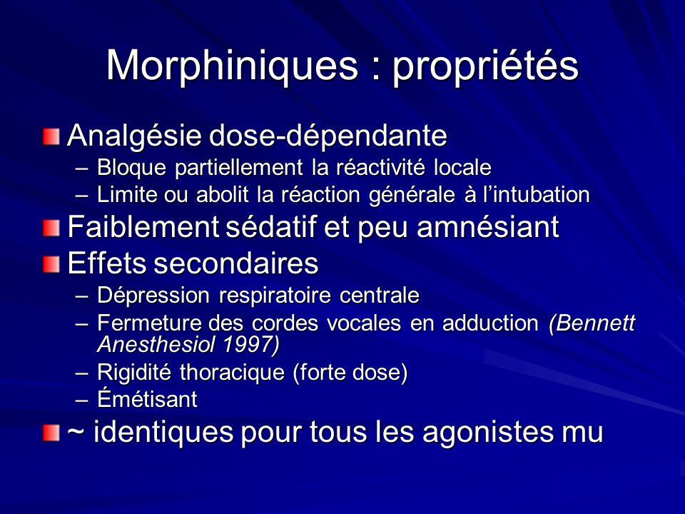 Morphiniques : propriétés