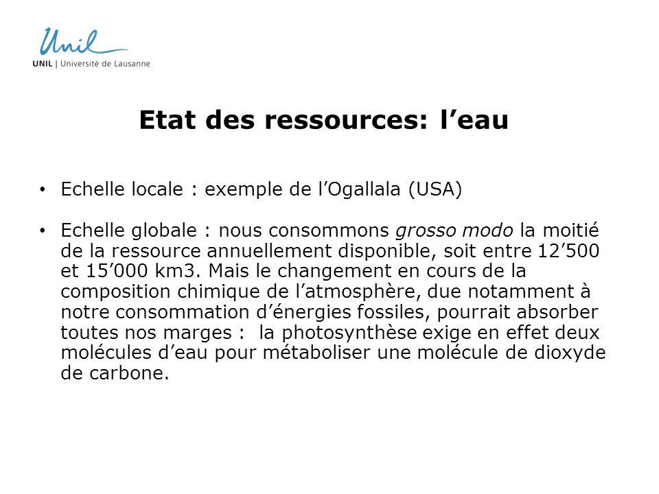 Etat des ressources: l'eau