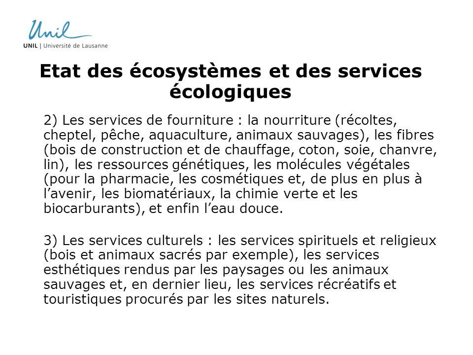 Etat des écosystèmes et des services écologiques