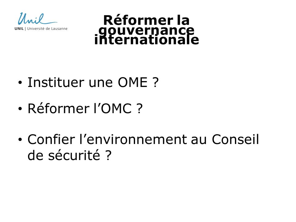 Réformer la gouvernance internationale