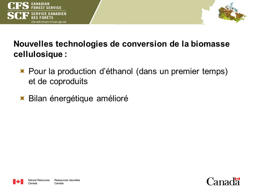 Nouvelles technologies de conversion de la biomasse cellulosique :