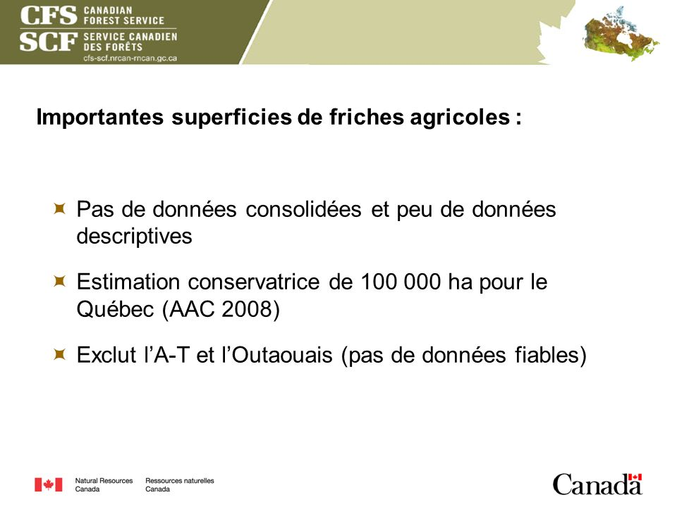 Importantes superficies de friches agricoles :