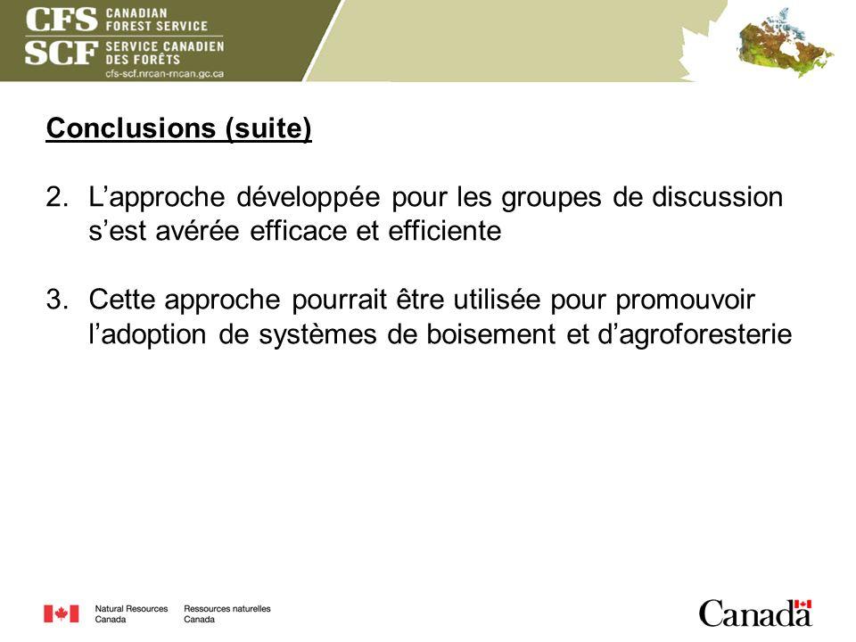 Conclusions (suite) L'approche développée pour les groupes de discussion s'est avérée efficace et efficiente.